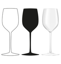 Wine glass outline silhouette icon and 3d model vector