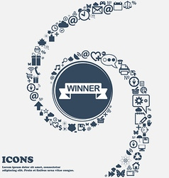 Winner sign icon in the center Around the many vector