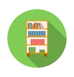 Wooden bookcase icon flat style vector