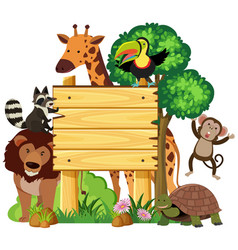 wooden sign with cute animals in the park vector image