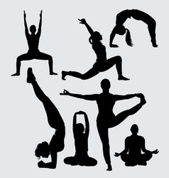 yoga sport silhouette vector image