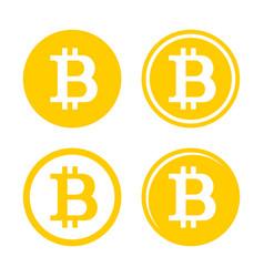 bitcoin sign logo set vector image vector image