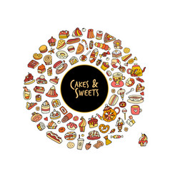 cakes and sweets collection sketch for your vector image vector image