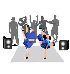 Guys dancers breakdance street vector image vector image