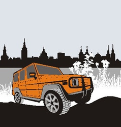 Off road car in natur vector image vector image