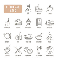 restaurant icons set of pictogram vector image