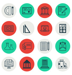 set of 16 school icons includes paper college vector image vector image
