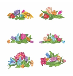 Set of flower vignettes vector image