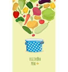 Vegetarian menu Cook vegetables in the pan vector image