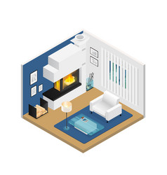living room isometric interior with fireplace vector image