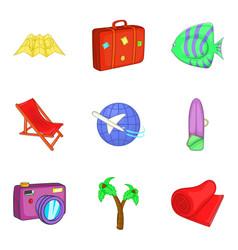 Sea tourism icons set cartoon style vector