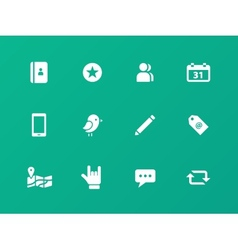 Social icons on green background vector