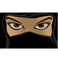 young woman wearing a black burqa vector image