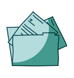 Aquamarine hand drawn silhouette of folder with vector