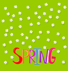 floral background with spring word vector image vector image