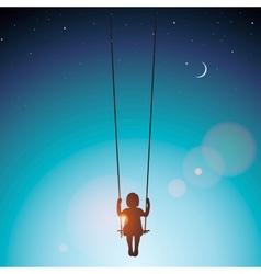 Little girl on a swing vector image