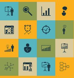 set of 16 authority icons includes opinion vector image vector image