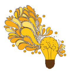 Silhouette of light bulb with sparks of light vector