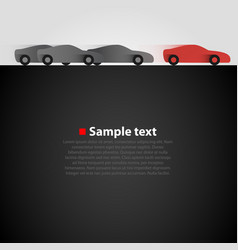 three cars in the race dark background vector image