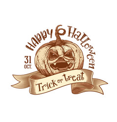 trick or treat retro happy halloween sketch vector image vector image