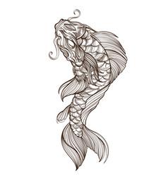 contour image of koi fish japanese carp line vector image