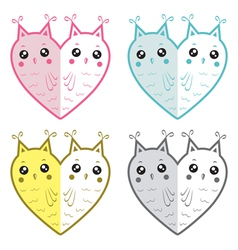 Cute owls-hearts vector image vector image