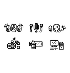Digital devices in black colour icons set vector image