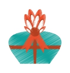 drawing gift box red bow surprise vector image