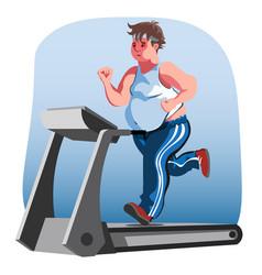 fat man character running fast on treadmill vector image vector image