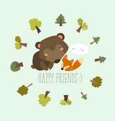 happy friends in the forest bearfox vector image vector image