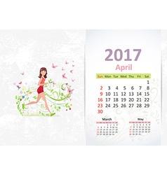 nice young woman running fun Calendar for 2017 vector image vector image