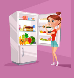 woman character near refrigerator thinking vector image