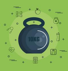 10kg kettlebell design vector