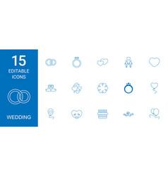 15 wedding icons vector