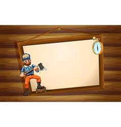 A woodman in front of the big empty signboard vector