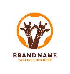 african giraffe head logo design vector image
