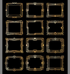 art deco gold frames golden luxury vintage vector image