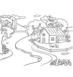 autumn landscape coloring book vector image