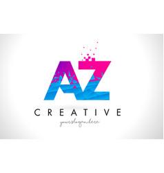 Az a z letter logo with shattered broken blue vector
