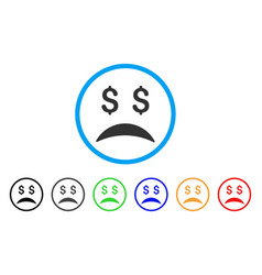 bankrupt sad emotion rounded icon vector image