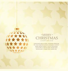 beautiful golden christmas balls design holiday vector image