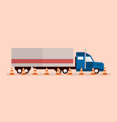 Big truck with traffic cones vector