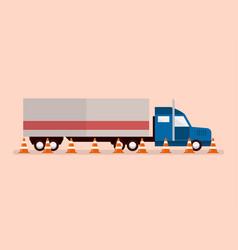 Big truck with traffic cones vector