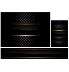 black background with gold border set vector image