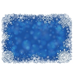 blue christmas background with frame snowflakes vector image