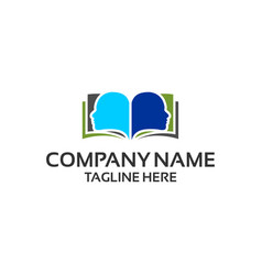 book people face logo template ready for use vector image