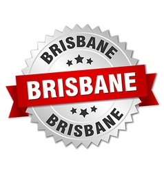 Brisbane round silver badge with red ribbon vector