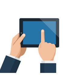 businessman hold tablet and pointing empty blue vector image