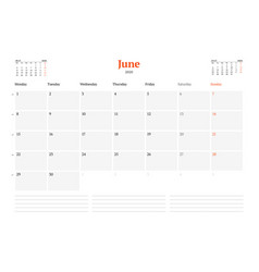 Calendar template for june 2020 business monthly vector