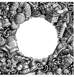 cartoon cute doodles happy new year monochrome vector image